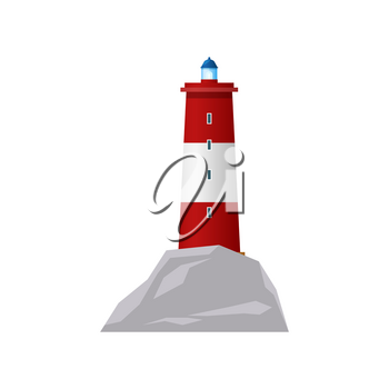 Lighthouse or sea beacon tower light, nautical searchlight vector flat isolated icon. Ocean navigation signal or coast red white light house, marine travel beam sign and ship sailing direction guide