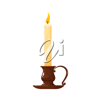 Old fashioned lit candle in vintage candlestick isolated realistic icon. Vector glass or copper holder, antique brass candelabra. Romantic wax stick candle with fire on top. Christmas decoration