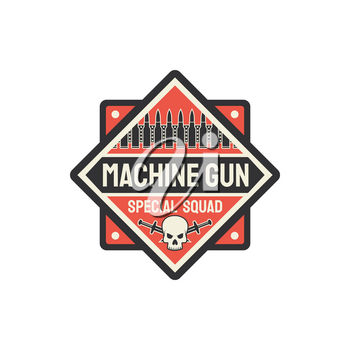 US military chevron, special squid of machine guns squad isolated shield badge. Vector rifled long-barrel autoloading firearm, US army patch, bullet and crossed swords with skull. Army armored troop