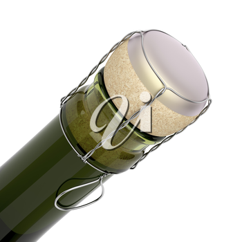 Neck of a bottle of champagne with a closed cork, isolated on white background