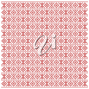 Traditional Macedonian folk pattern with red figures