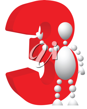 Royalty Free Clipart Image of an Android Holding the Number Three