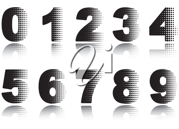 Digits set. Halftone black-and-white vector illustration on white background.