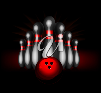 Royalty Free Clipart Image of Abstract Bowling Pins and a Ball