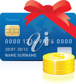 Royalty Free Clipart Image of a Credit Card and Coins