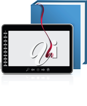 Royalty Free Clipart Image of an eBook Reader and a Book