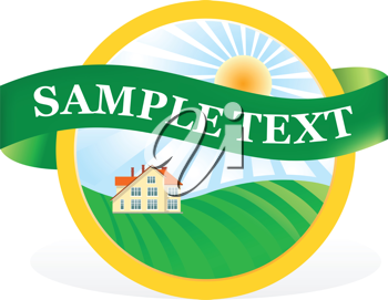 Royalty Free Clipart Image of a House and Nature Image With a Ribbon