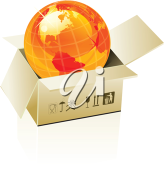 Royalty Free Clipart Image of an Orange Globe in a Box