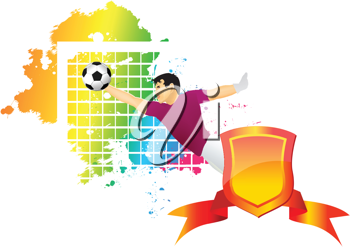 Royalty Free Clipart Image of a Goalie Making the Play in Soccer