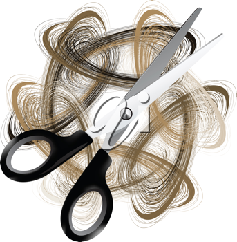 Royalty Free Clipart Image of Scissors and Hair