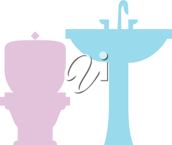 Royalty Free Clipart Image of a Bathroom Sink and Toilet