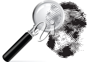 Royalty Free Clipart Image of a Magnifying Glass and Fingerprint