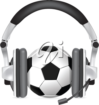 Royalty Free Clipart Image of a Soccer Ball With Headphones