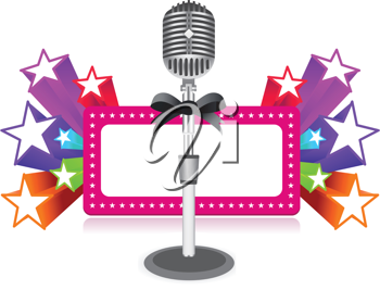 Royalty Free Clipart Image of a Neon Sign With a Microphone