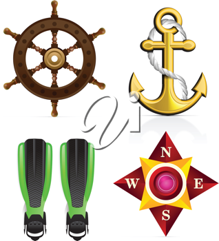 Royalty Free Clipart Image of Nautical Elements