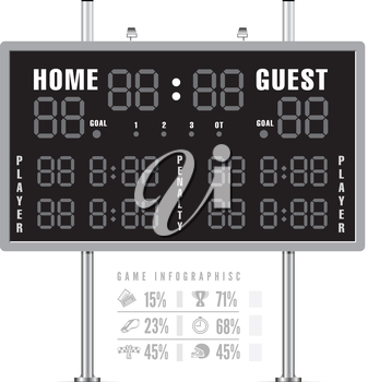 American football scoreboard with infographics. Vector illustration