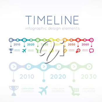 Timeline element vector infographic on light grey background