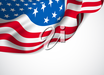 U.S. flag on a white background. Vector illustration