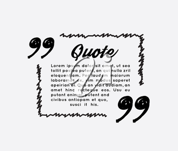 Drawn quotes and a frame. Vector illustration