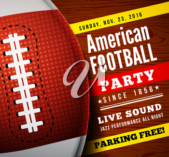 American football party. Vector background with ball on wooden floor