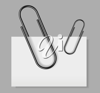 Paper clip vector illustration isolated on grey background