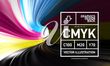 CMYK paint in the form of a 3D spiral pipe. Inside view. Vector close-up illustration