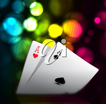 A combination of playing cards for casino. Two aces on bokeh background. Vector illustration