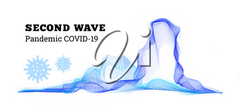 Second wave covid-19. Vector illustration on white background
