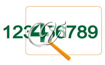 Royalty Free Clipart Image of a Magnifying Glass Over Numbers