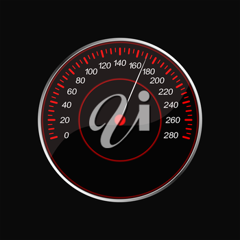 Speedometer on a black background. Red scale