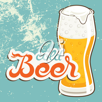 Cold Beer. Vector illustration in vintage style