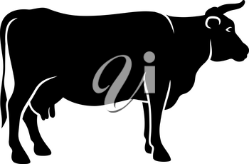 Silhouette of a cow isolated on white