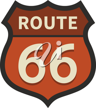 Route 66 sign isolated on white