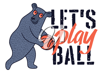 Funny Bear with sunglasses and basketball ball for t-shirt design. Vector illustration on the sport theme