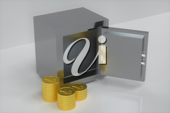 Mechanical safe, with shiny golden coins beside, 3d rendering. Computer digital drawing.