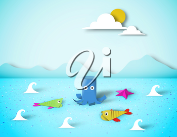 Paper Origami Fish, Octopus, Childish Creative Elements, Artistic Summer Composition, Unusual Made Template with Style Symbols for Banner, Card, Poster, Cut Seascape World, Eps10 Vector Illustration - Vector