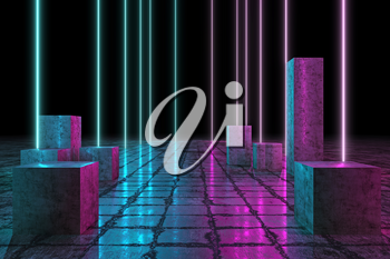 Led Technology Pillars, Neon 3D Glow Lights with Fluorescence, Futuristic Grunge Columns, 3D Rendering Background, Underground Abstract Sci-Fi Design, Conceptual Cosmic Tomorrow Aesthetic Style.