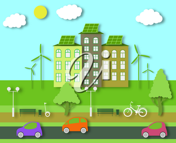 Paper Ecology Concept. City Life with Cut Trees, Buildings, Automobiles. Bike and GyroScooter near the Bench in the Eco Park. Cutout Template for Banner, Card, Poster. Vector Illustrations Art Design.