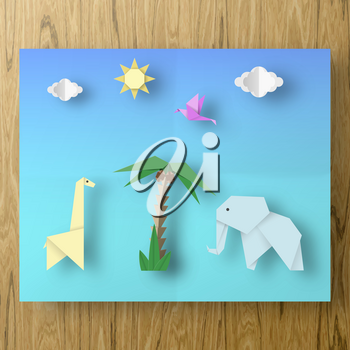 Poster with Cut Birds, Crab, Fish, Sun, Sky Style Paper Crafted Origami. Abstract Underwater Life. Publish Template Under the Water with Cutout Elements, Symbols. Vector Illustrations Art Design.