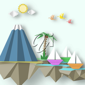Paper Origami Abstract Concept, Applique Scene with Cut Birds, Yacht, Mountain and 3D Fly Island. Papercut Exotic Artwork. CutOut Template with Elements, Symbols for Card. Vector Illustration Art Design.
