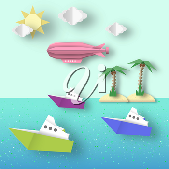 Paper Origami Airship Flies over the Sea and the Island. Cutout Fashion. Cut Landscape. Childish Dirigible, Palm, Ship, Island, Clouds, Sun. Papercut Style. Vector Graphics Illustrations Art Design.