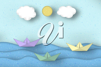 Applique Scene with Cut Boats, Clouds, Sun Style Paper Origami Concept. Modeling Seascape for Cards, Posters. Cutout Template with Elements, Symbols. Vector Illustrations Art Design.