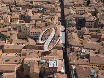 Aerial view of the city of Bologna, Italy
