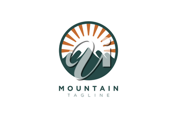 Vector design of the mountain and the sun in a minimalist and simple shape in a circle