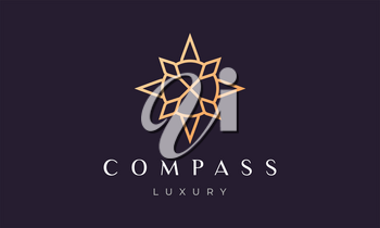simple compass logo concept with modern and luxury style with gold color