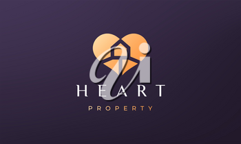 abstract love property logo concept with simple and modern style