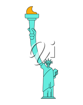 Statue of Liberty linear style. Landmark America. USA Sculpture New York. American symbol of freedom