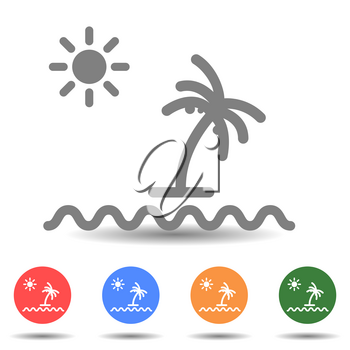 Palm coconut trees with sea and sun, summer concept
