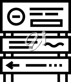 road direction sign line icon vector. road direction sign sign. isolated contour symbol black illustration