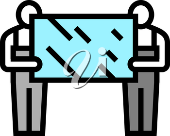 installers holding mirror color icon vector. installers holding mirror sign. isolated symbol illustration